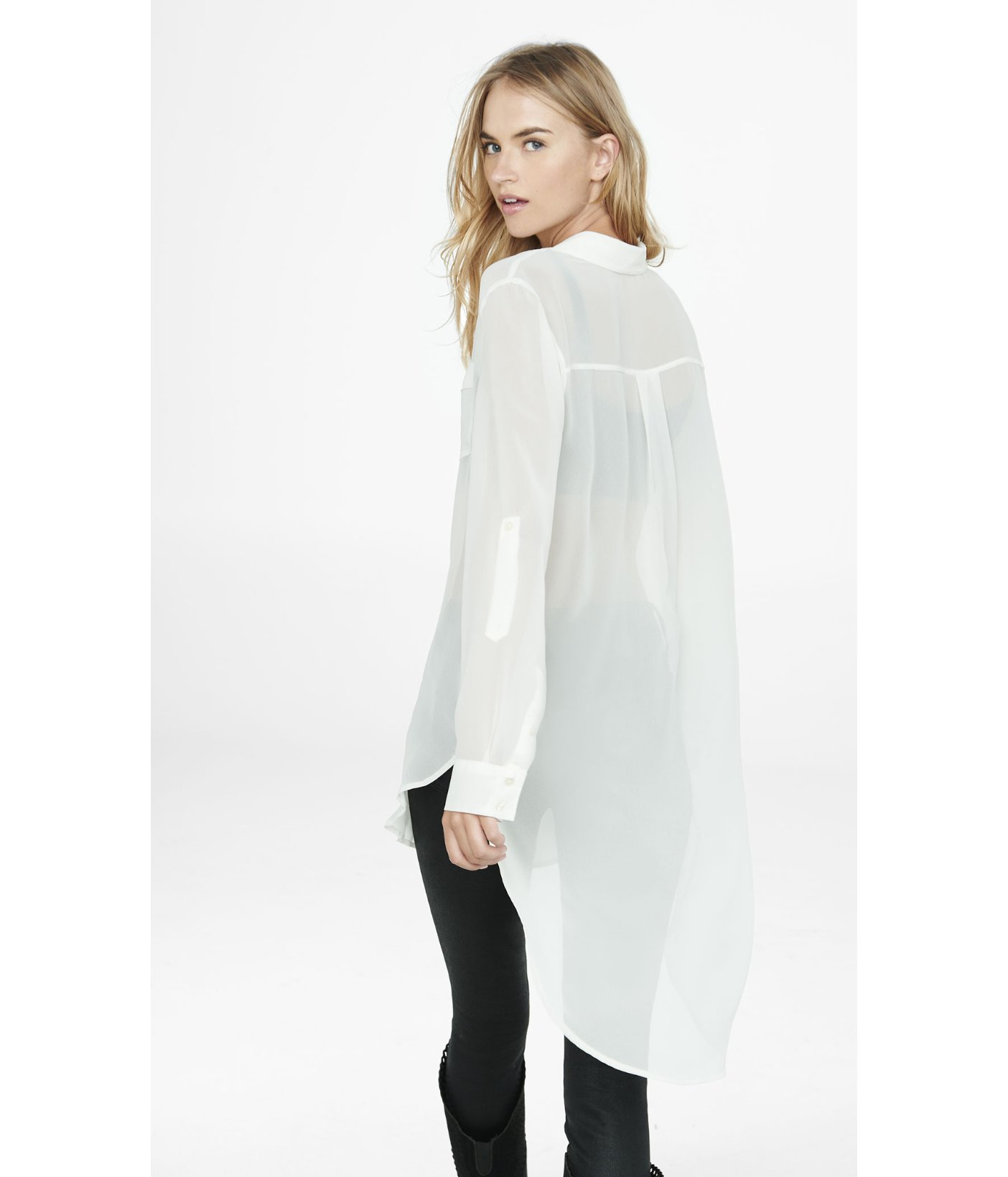 c904a147809 Express Sheer Chiffon Tunic Blouse in White - Lyst