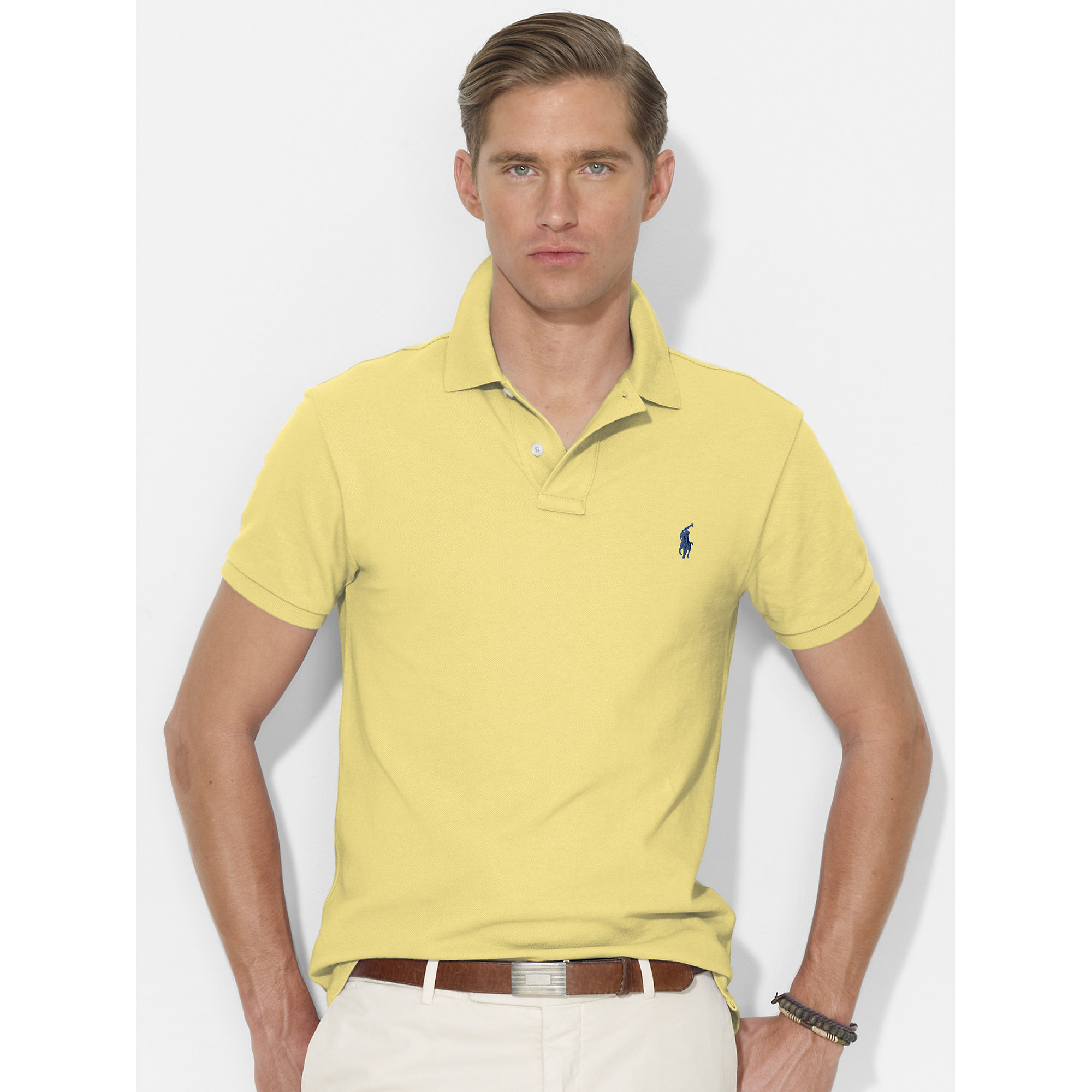... Ralph Lauren Men Light Yellow Custom-Fit Mesh Polo ...