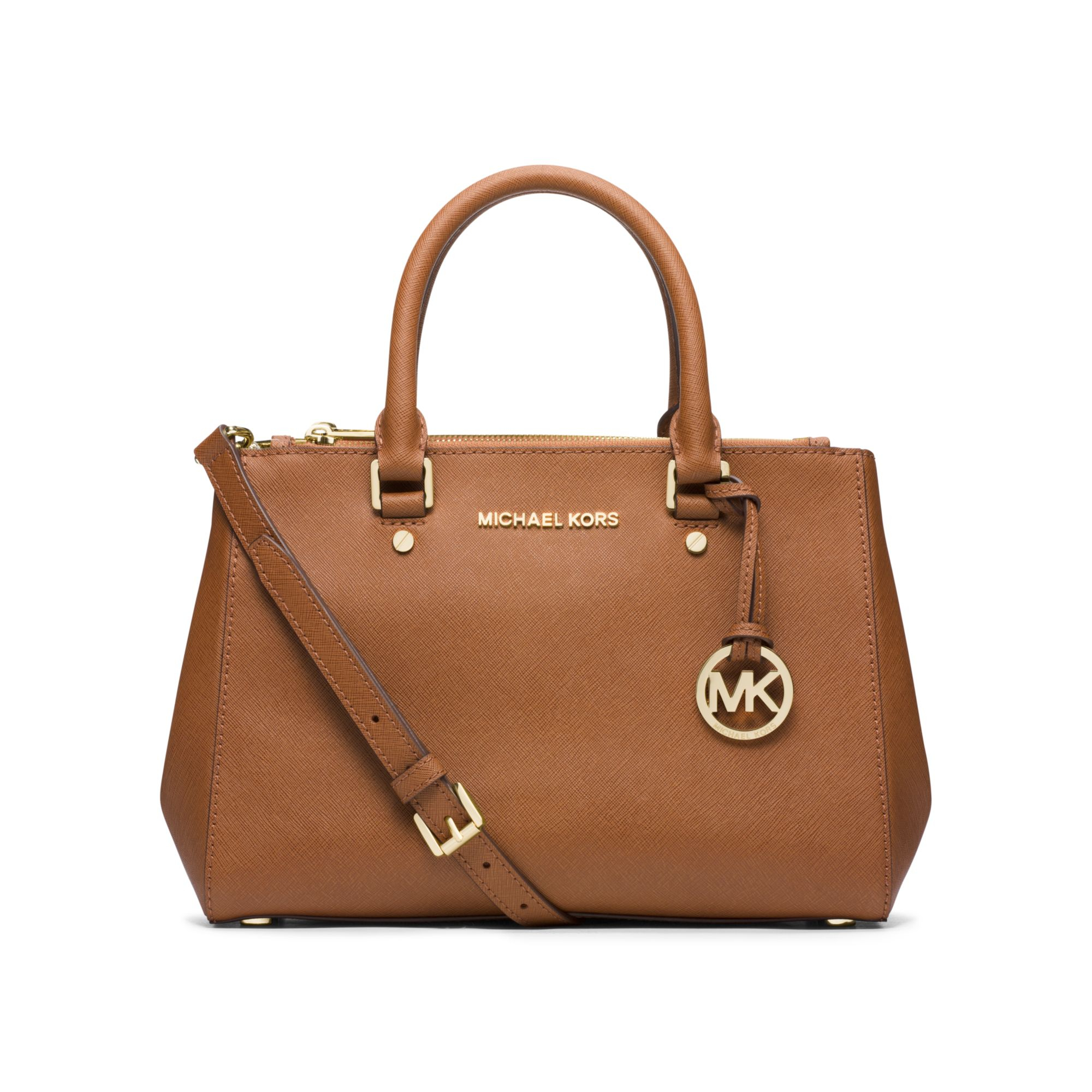 dd9d83756d73e Lyst - Michael Kors Sutton Small Saffiano Leather Satchel in Brown