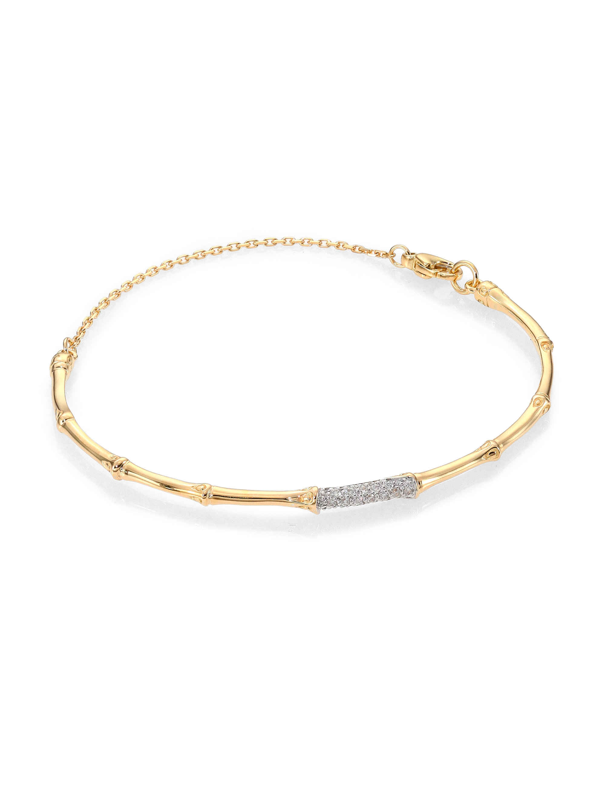 John Hardy Bamboo Diamond Amp 18k Yellow Gold Bangle