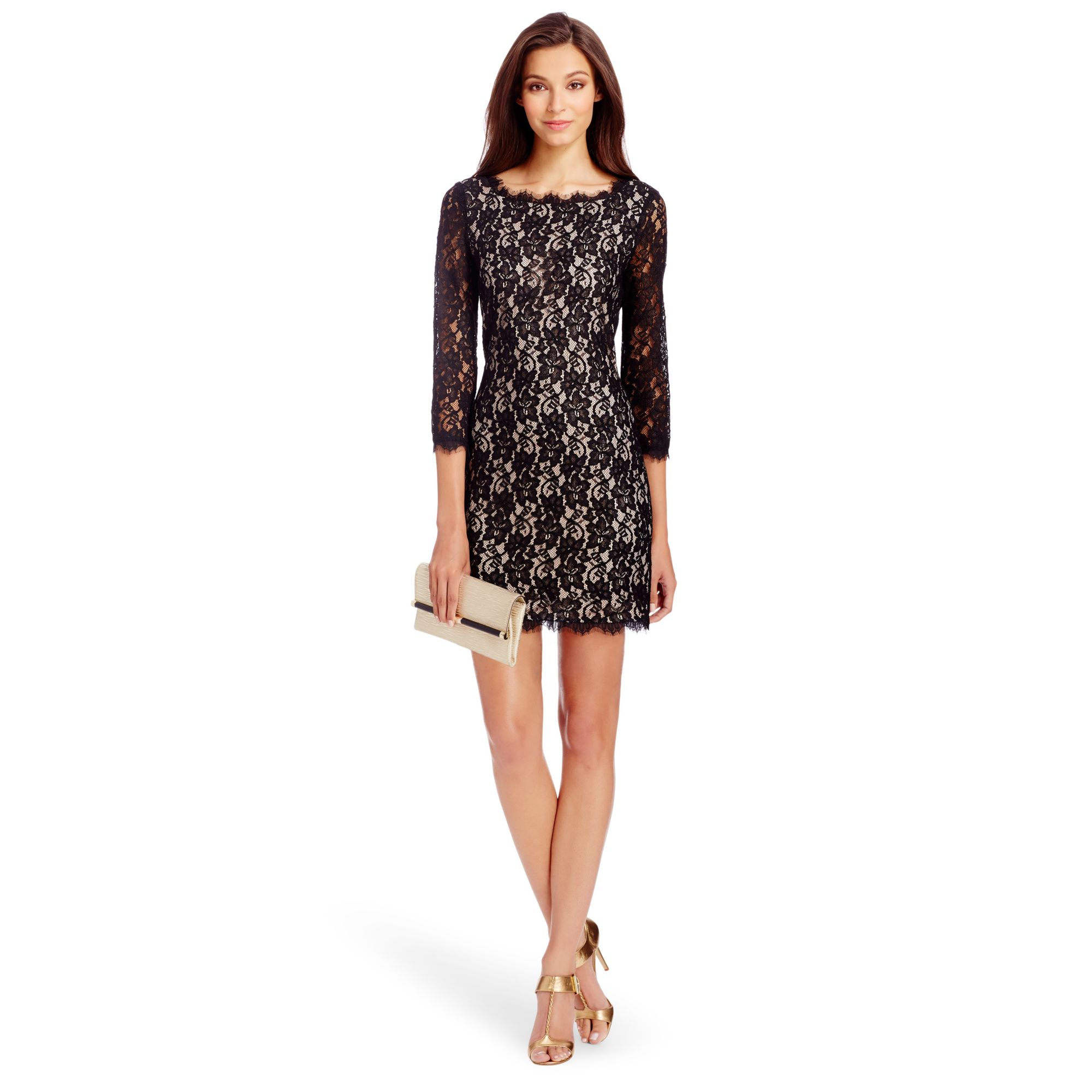 Diane von furstenberg zarita lace dress in black lyst for Diane von furstenberg clothes