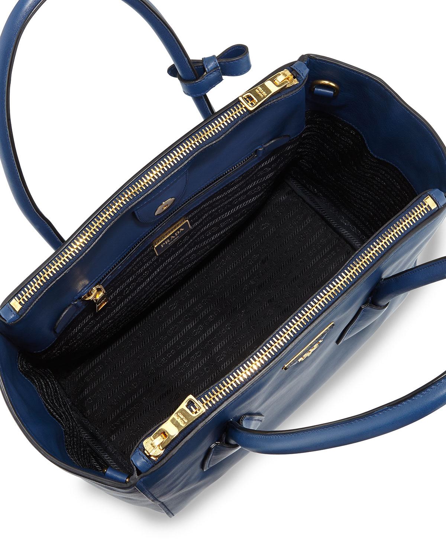 0e3e45bc1c5b Lyst - Prada Glace Calf Twin Pocket Tote Bag in Blue