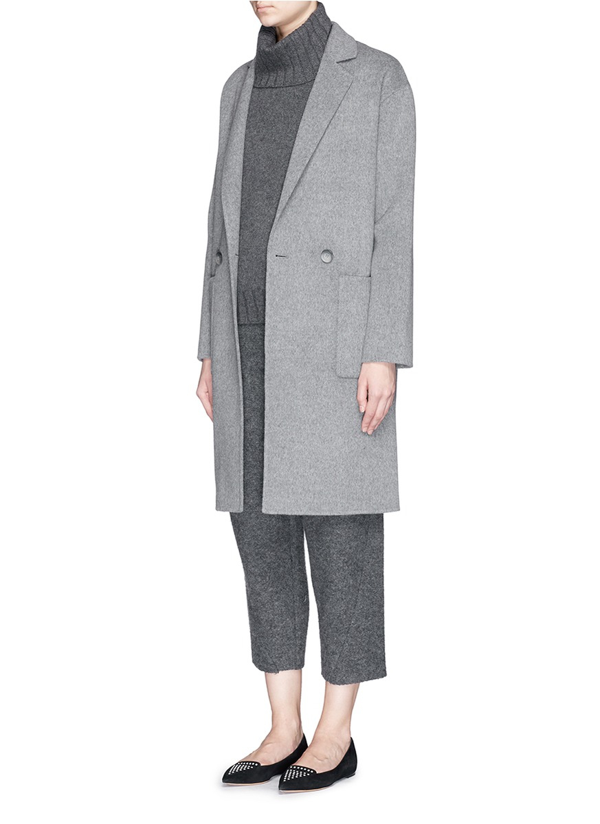 Theory 'eletkah Df' Wool-cashmere Coat in Gray | Lyst