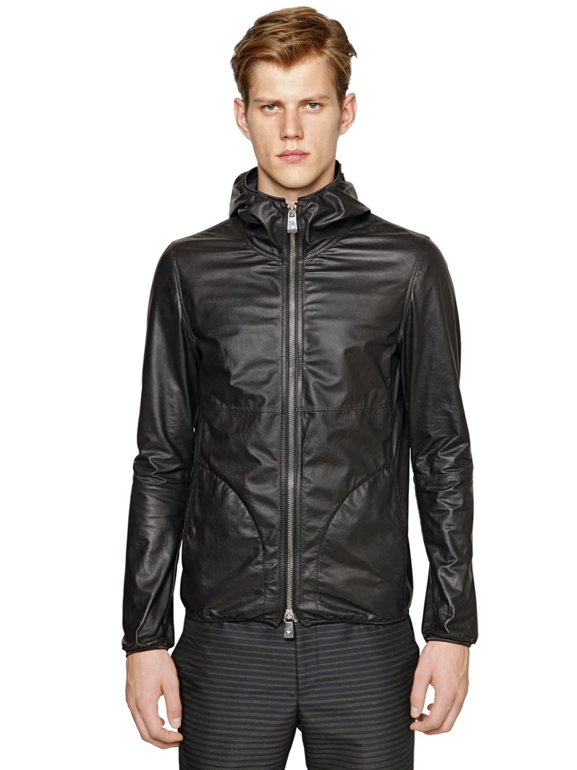 Emporio armani Hooded Light Nappa Leather Jacket in Black for Men ...