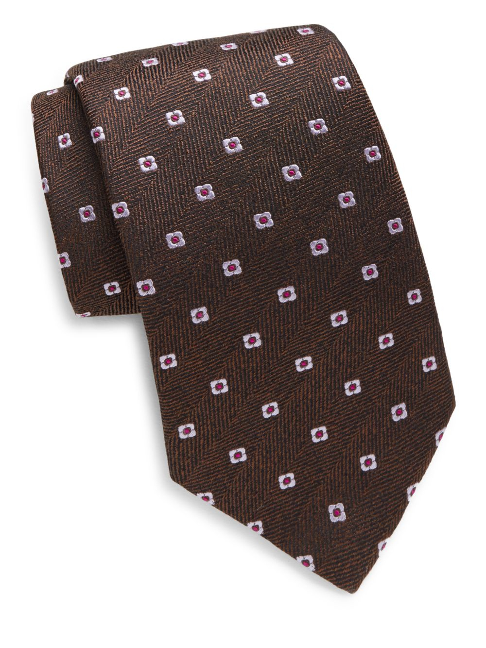 Lyst isaia herringbone floral embroidered silk tie in