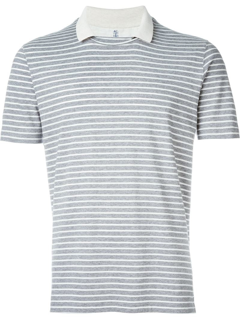 Brunello cucinelli striped t shirt in gray for men lyst for Grey striped t shirt