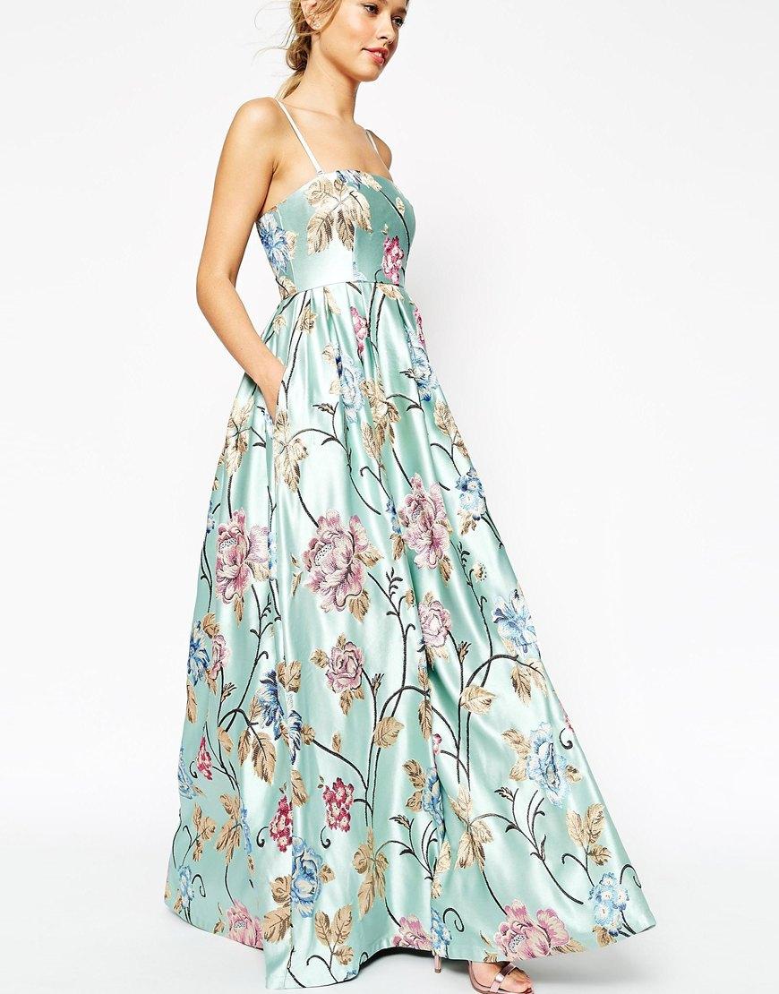 Lyst - Asos Salon Premium Beautiful Floral Jacquard Bandeau Maxi ...