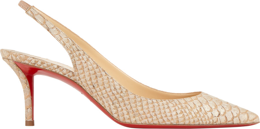 Christian louboutin Apostrophy Slingback Pumps in Beige (Nude) | Lyst