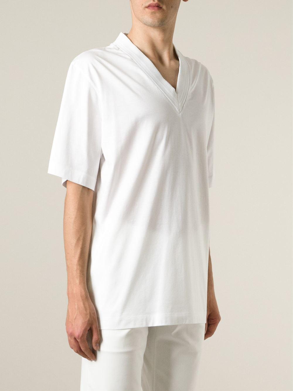 Juun j v neck t shirt in white for men lyst for White v neck shirt mens
