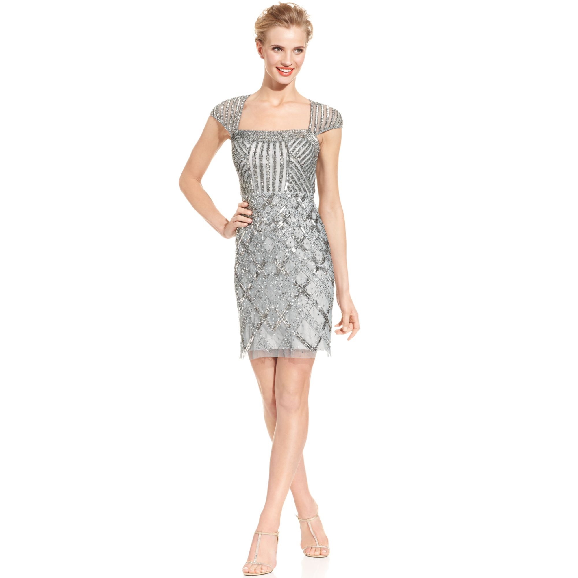 Adrianna Papell Beaded Cap Sleeve Dress