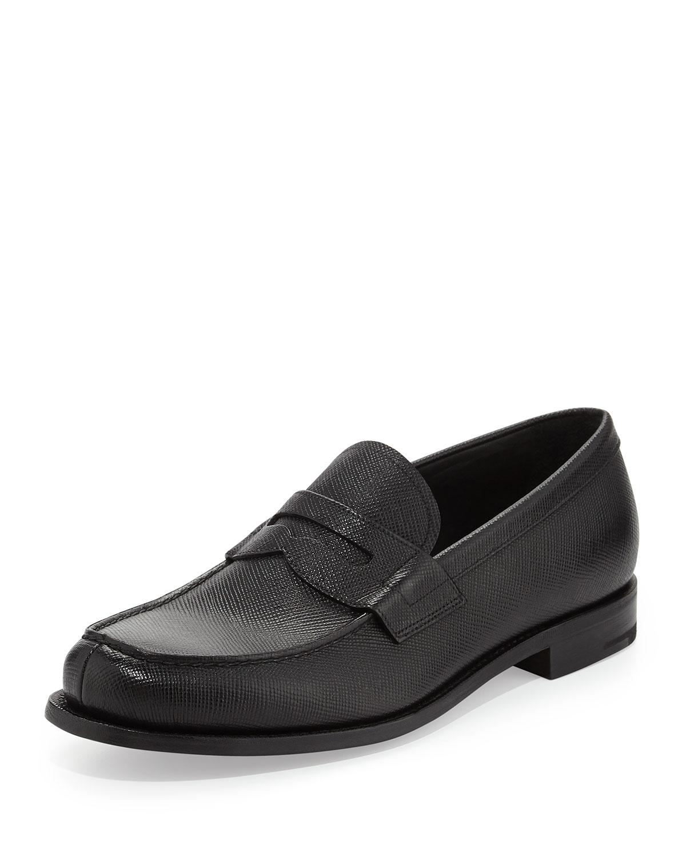 Prada Saffiano Penny Loafer in Black for Men - Lyst
