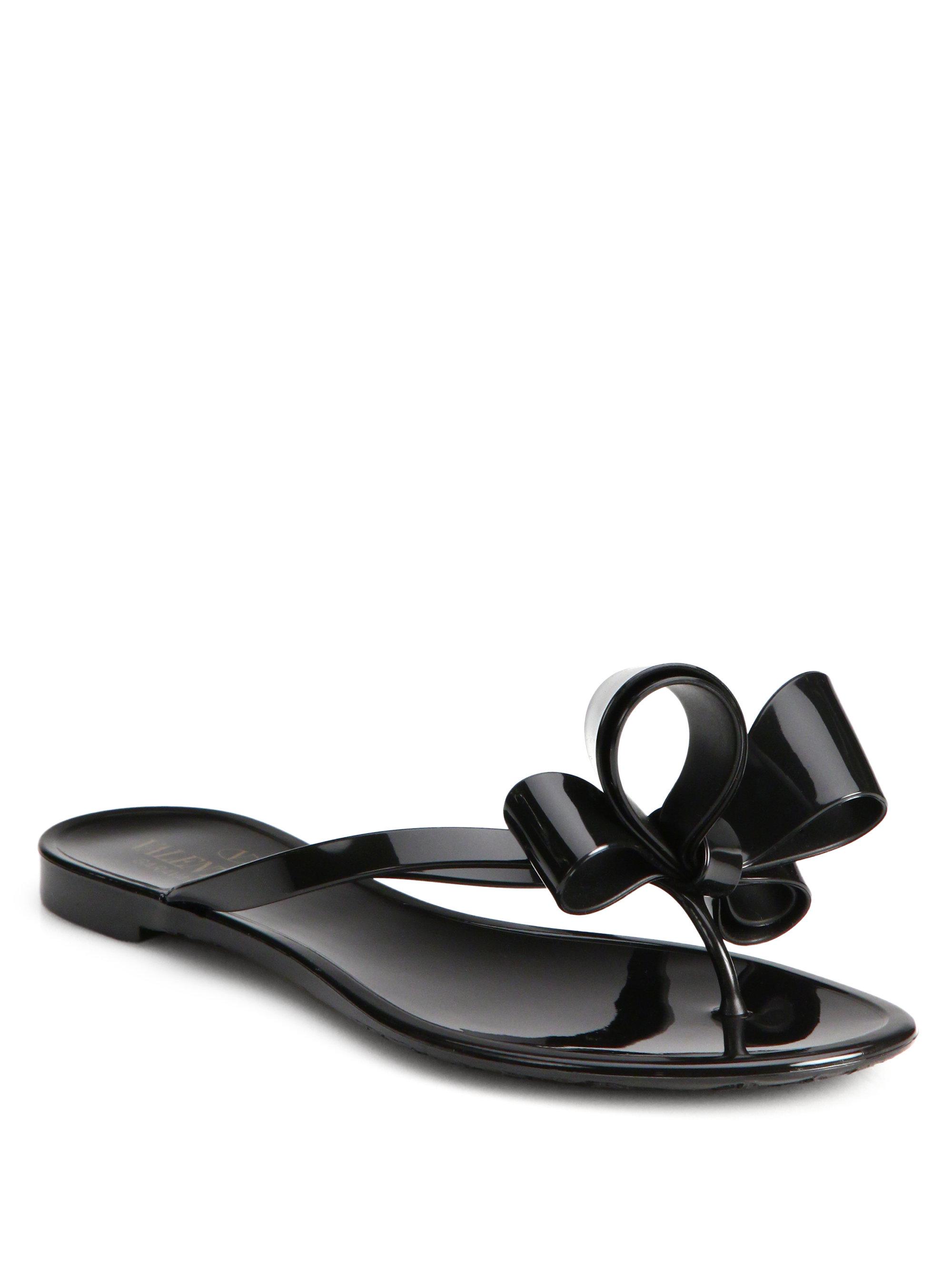 19ba6e22e Lyst - Valentino Couture Bow Jelly Flip Flops in Black