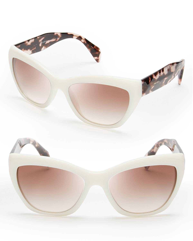 2656c8301405 ... netherlands lyst prada cat eye sunglasses in white a2ea7 a23b3