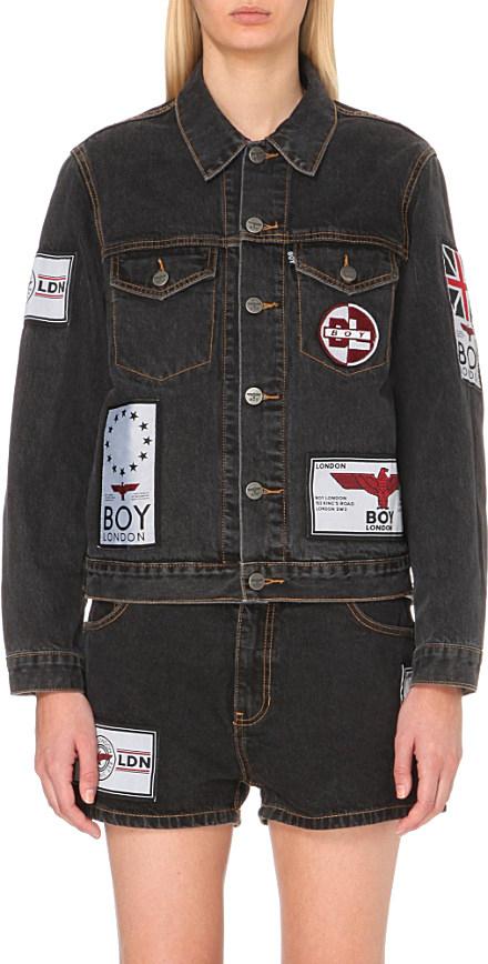 Boy london Patch-appliqué Denim Jacket in Black for Men | Lyst