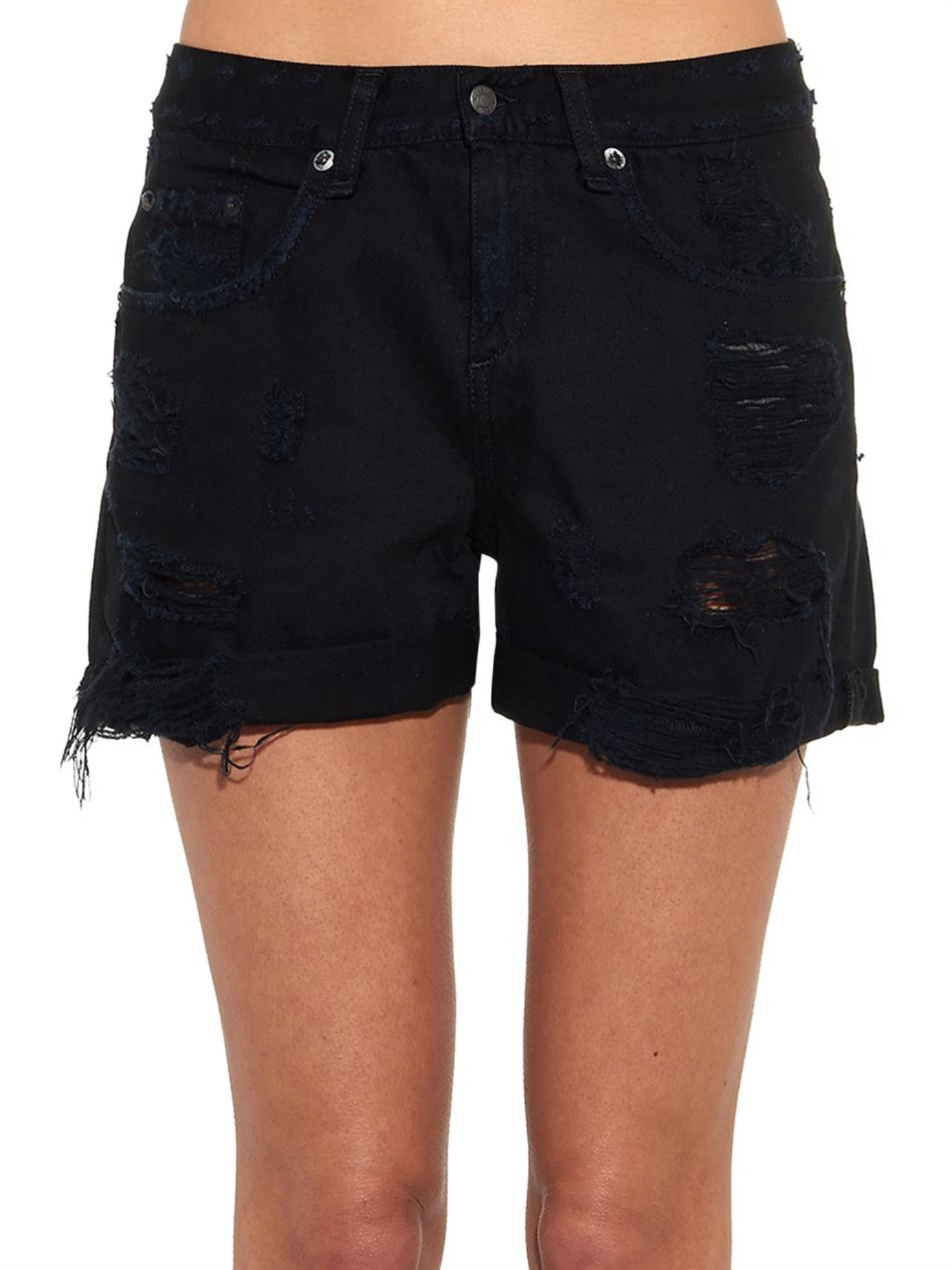Black Denim Boyfriend Shorts
