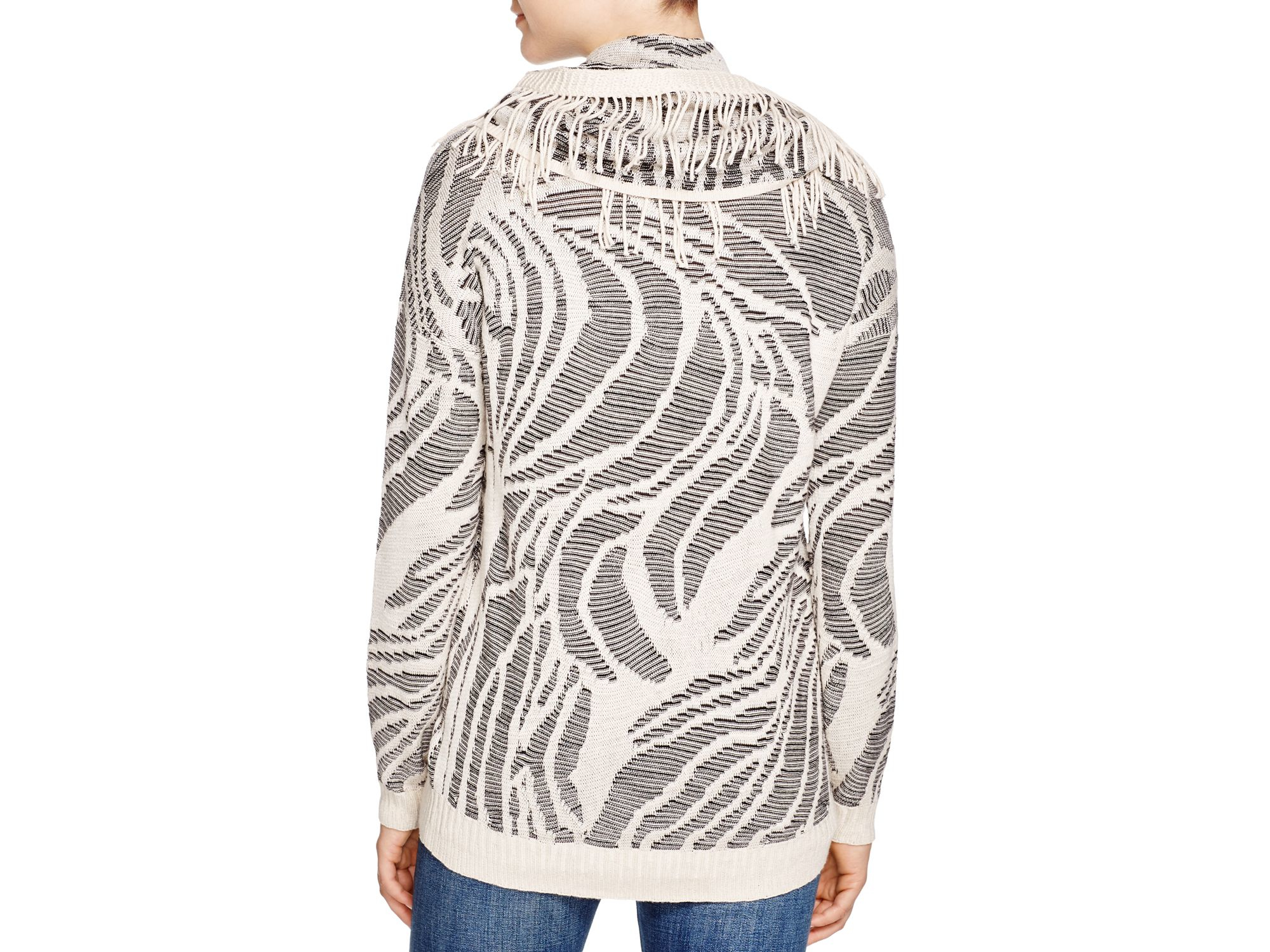Niczoe Oasis Jacquard Scarf Sweater In Gray Lyst