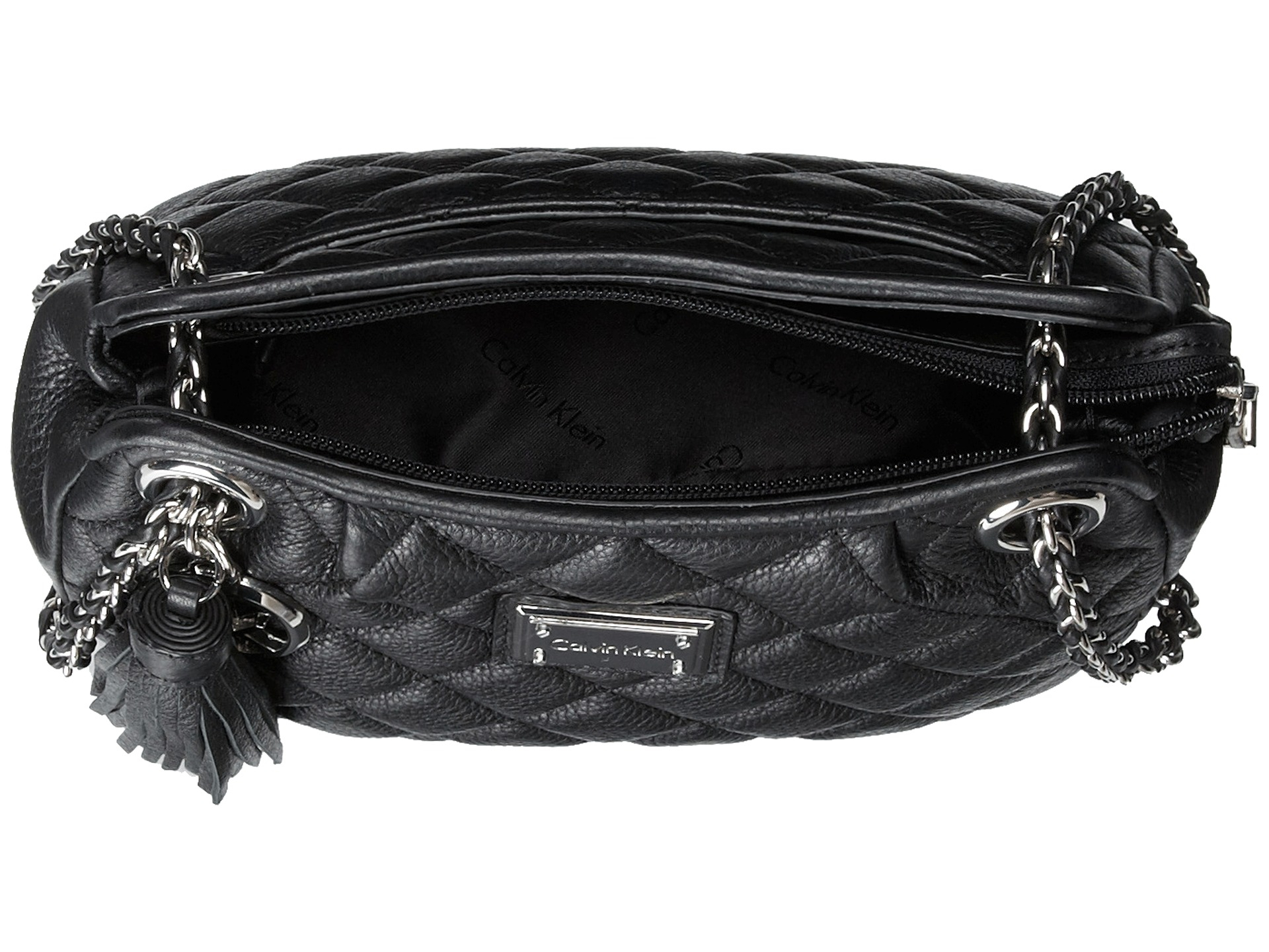 Lyst - Calvin klein Quilted Leather Tassel Crossbody in Black : calvin klein quilted leather crossbody bag - Adamdwight.com
