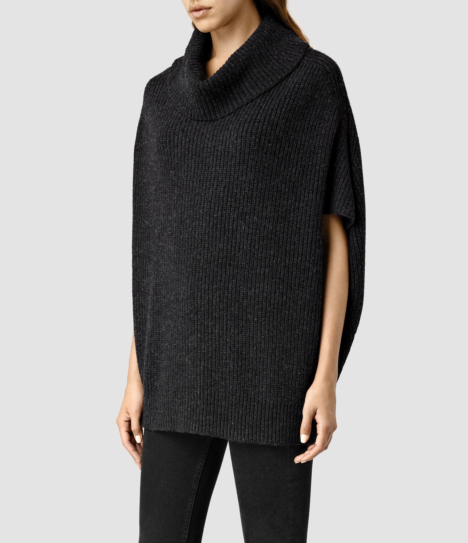 Allsaints Louis Cowl Neck Sweater in Black | Lyst