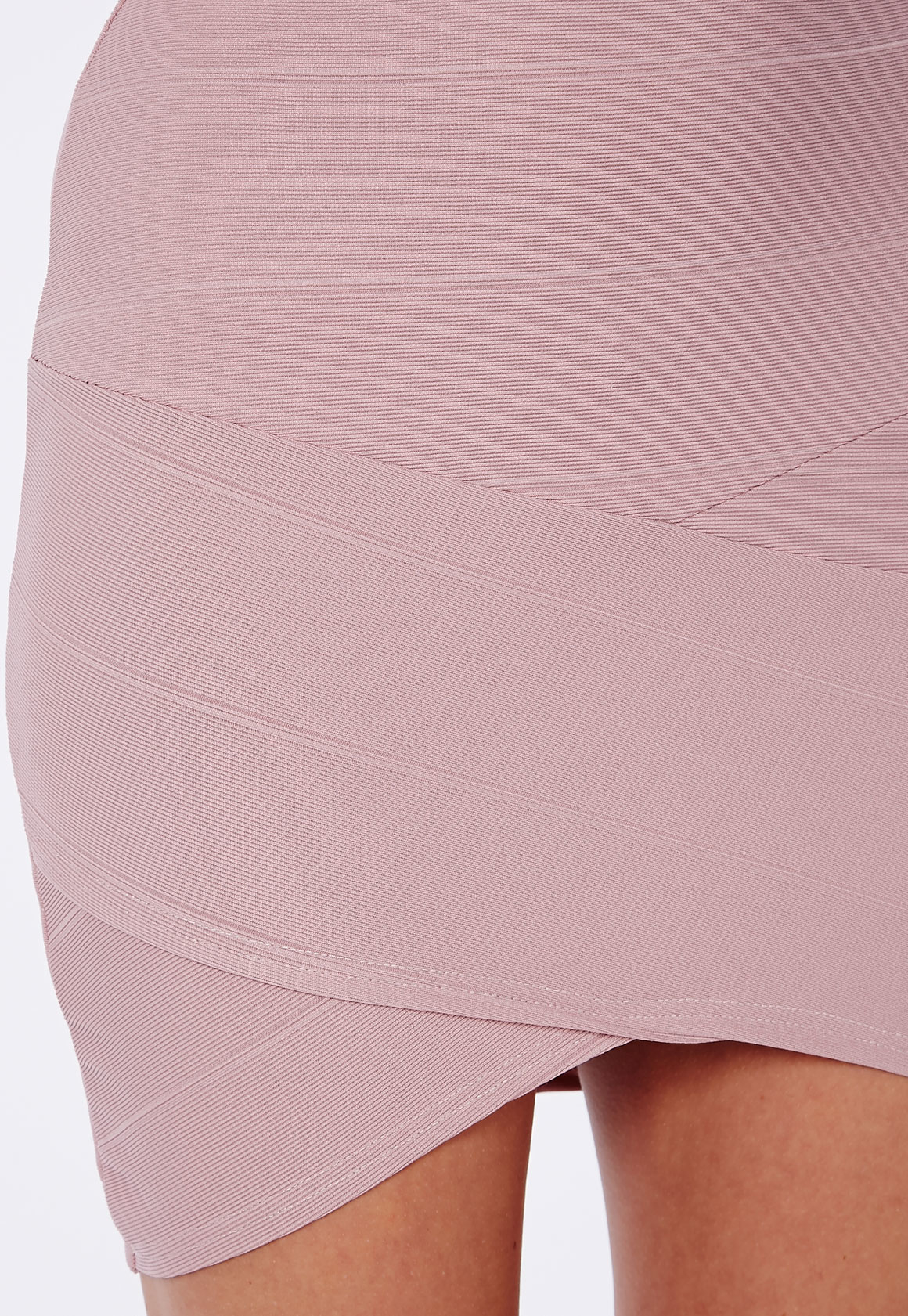 33df6bb700e3 Lyst - Missguided Bandage Asymmetric Hem Mini Skirt Mauve in Pink
