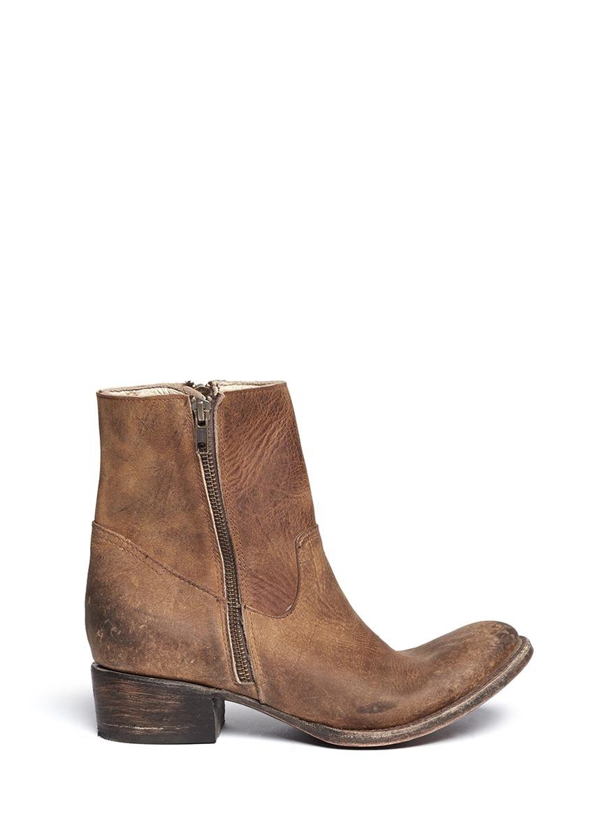 freebird distressed leather zip boots in brown lyst