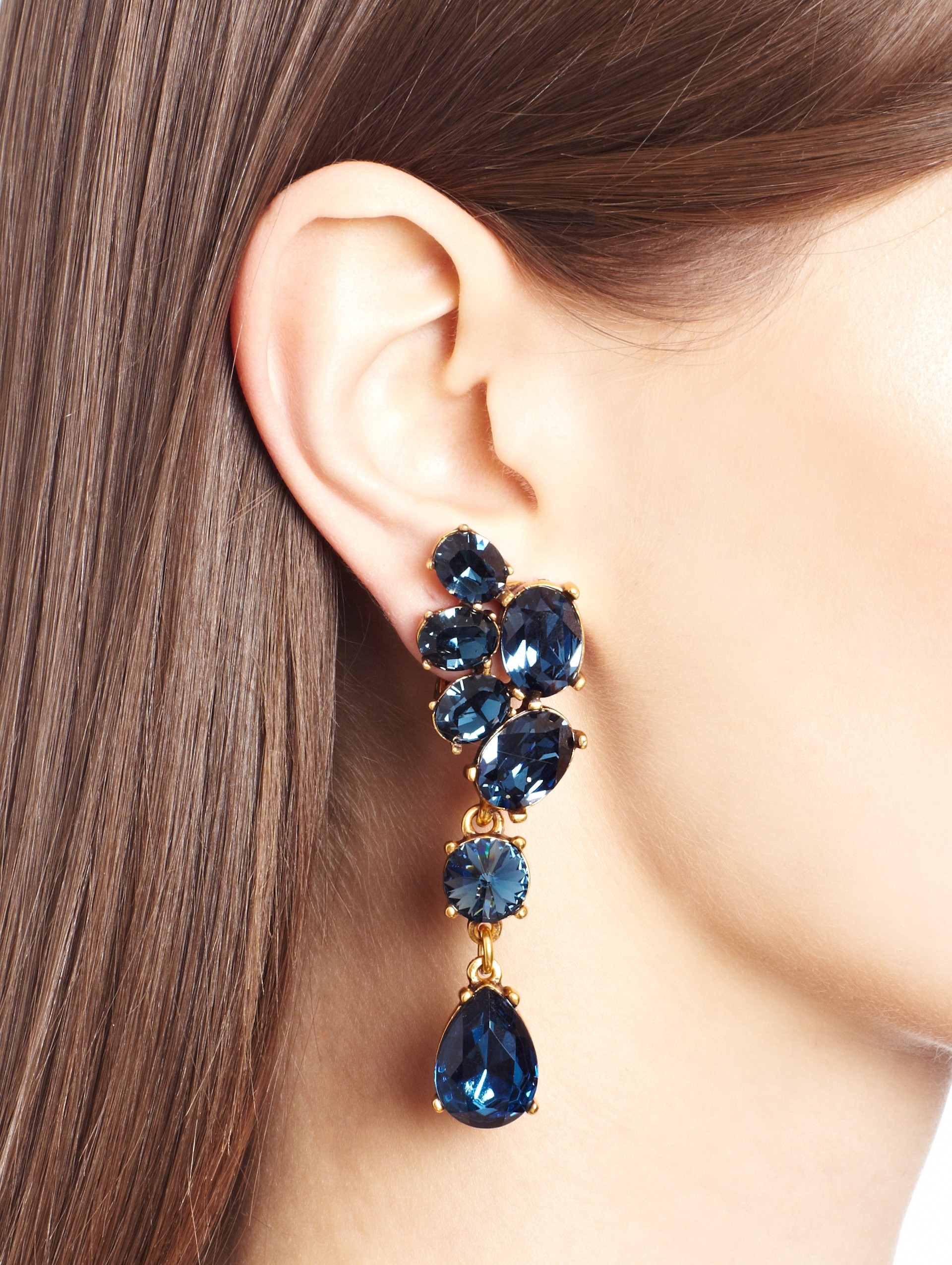 dbcf9bd85dcb Lyst - Oscar de la Renta Swarovski Crystal Asymmetrical Earrings in Blue
