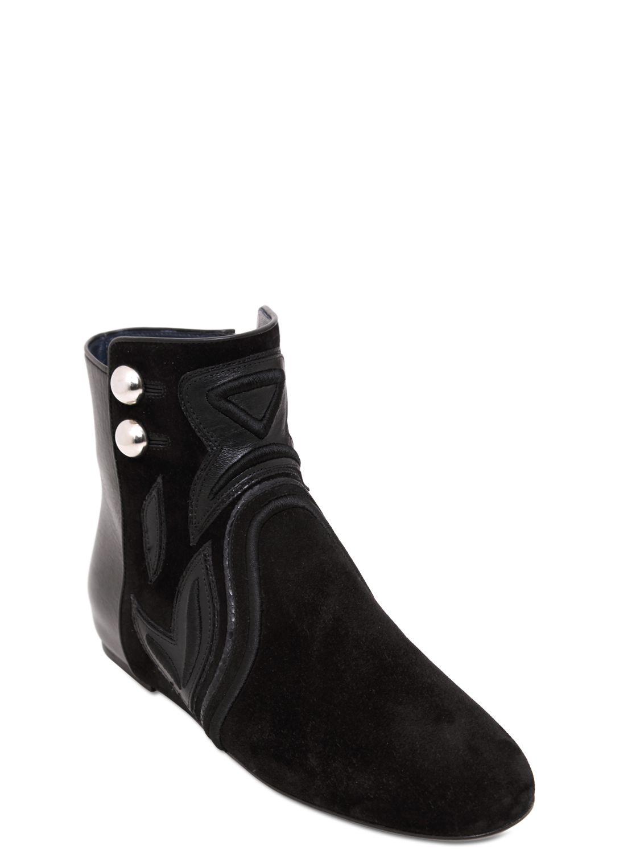 isabel marant rick suede leather boots in black lyst. Black Bedroom Furniture Sets. Home Design Ideas