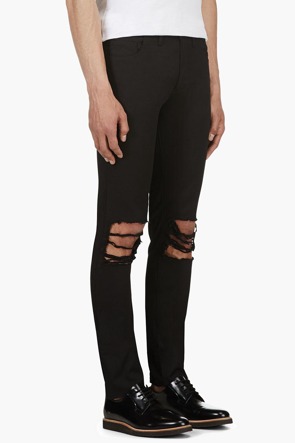 Christian dada Black Distressed Skinny Jeans in Black for Men | Lyst