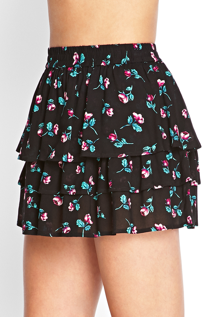 Forever 21 Tiered Floral Mini Skirt In Black Fuchsia Pink