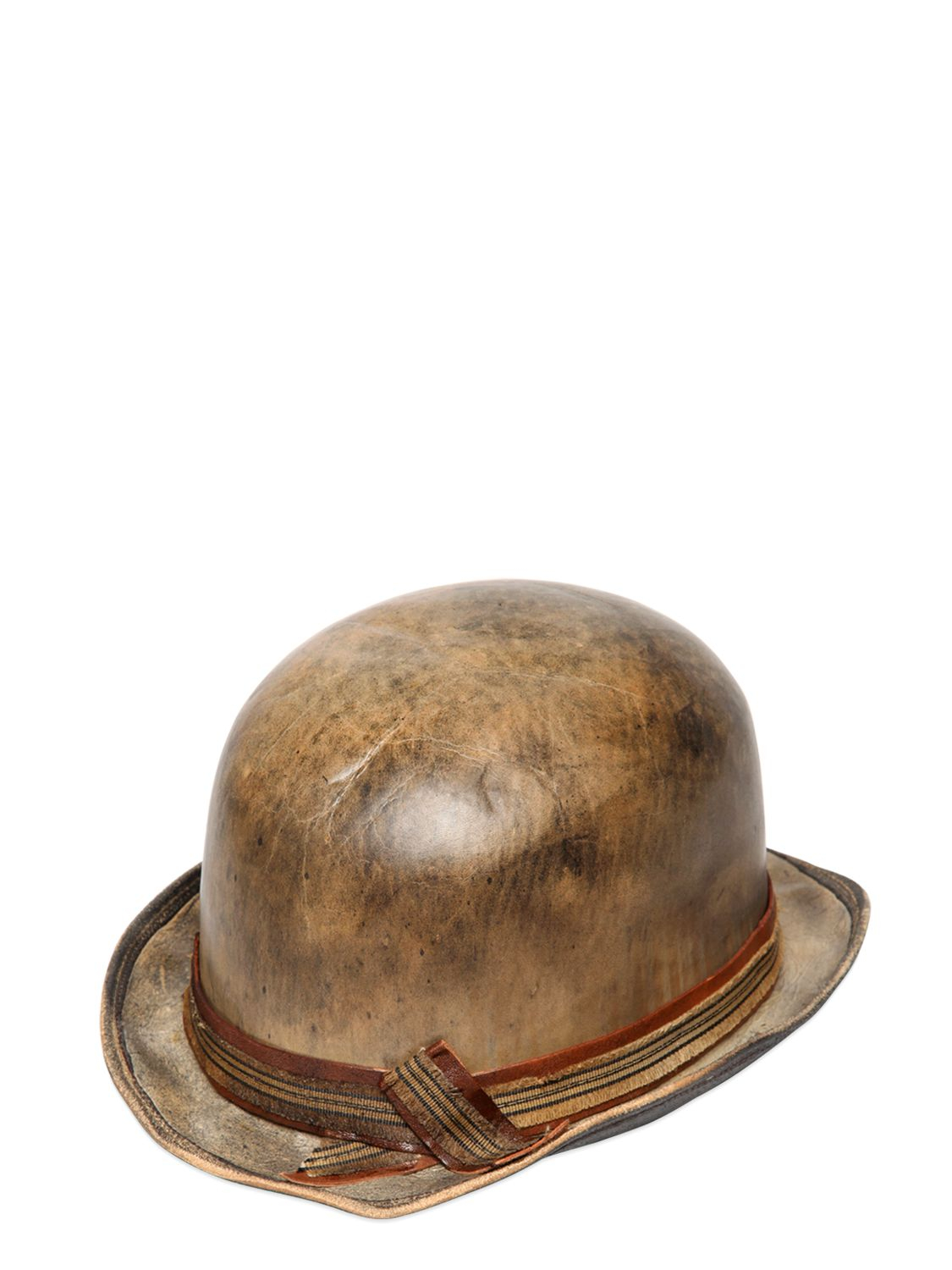 68efb54e57 Move Vintage Leather Bowler Hat in Brown - Lyst
