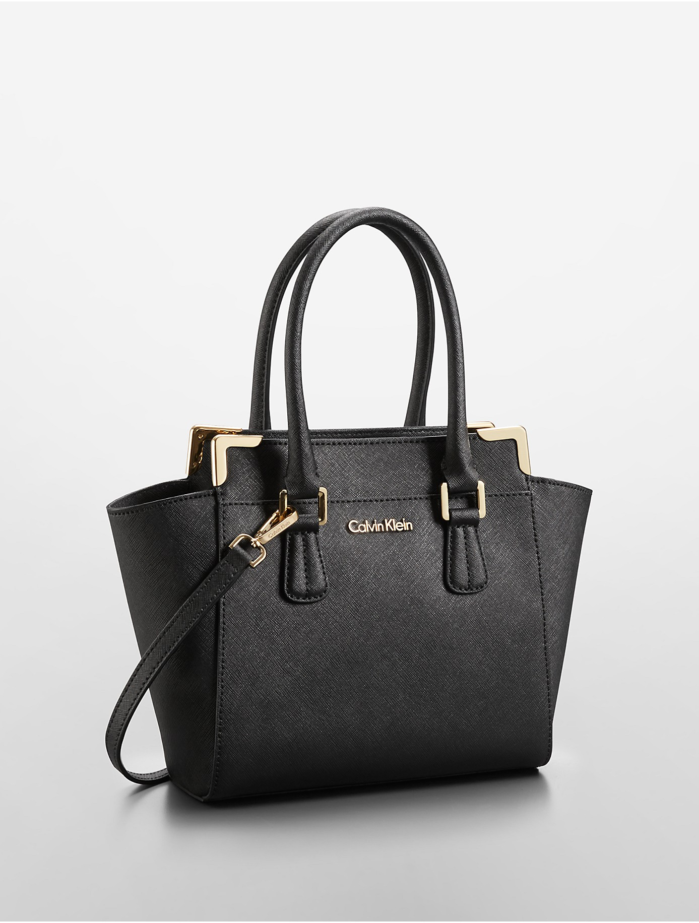 Calvin Klein Saffiano Leather Small Winged Tote Bag In