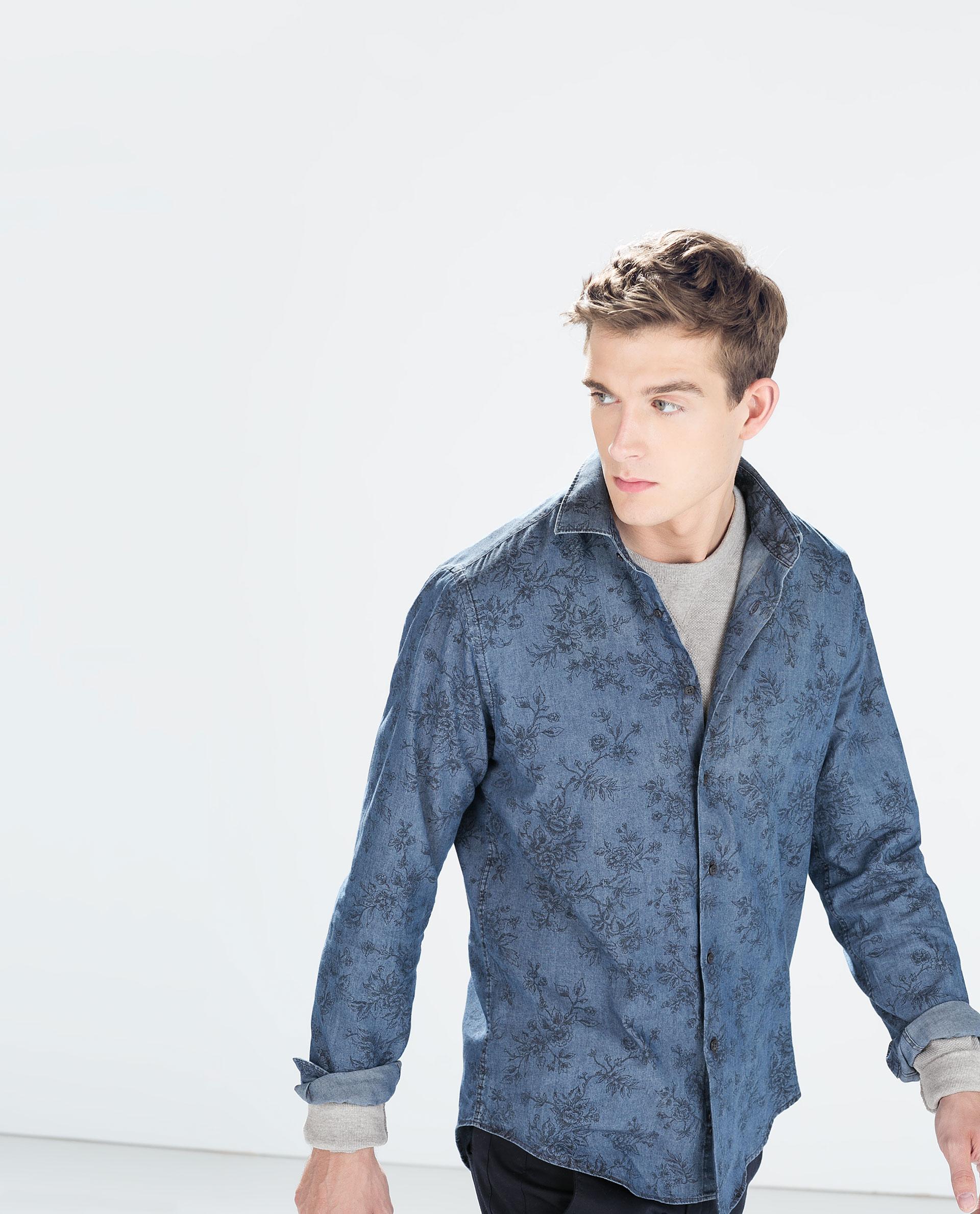 Zara floral print indigo shirt in blue for men lyst for Zara mens floral shirt