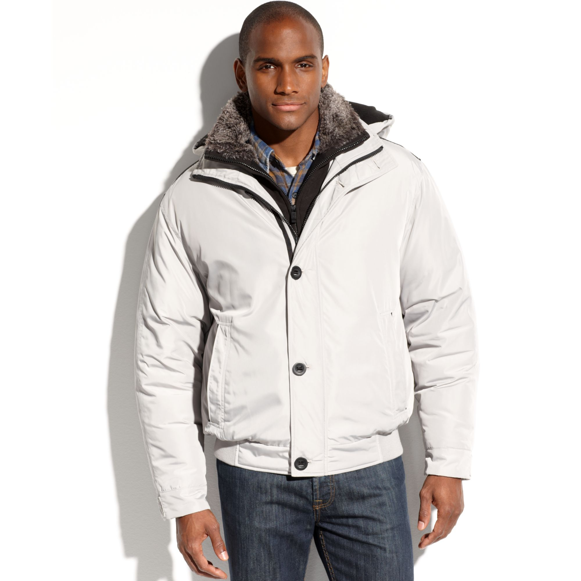 Weatherproof Ultra Oxford Hooded Faux Fur Collar Bomber Jacket in ...