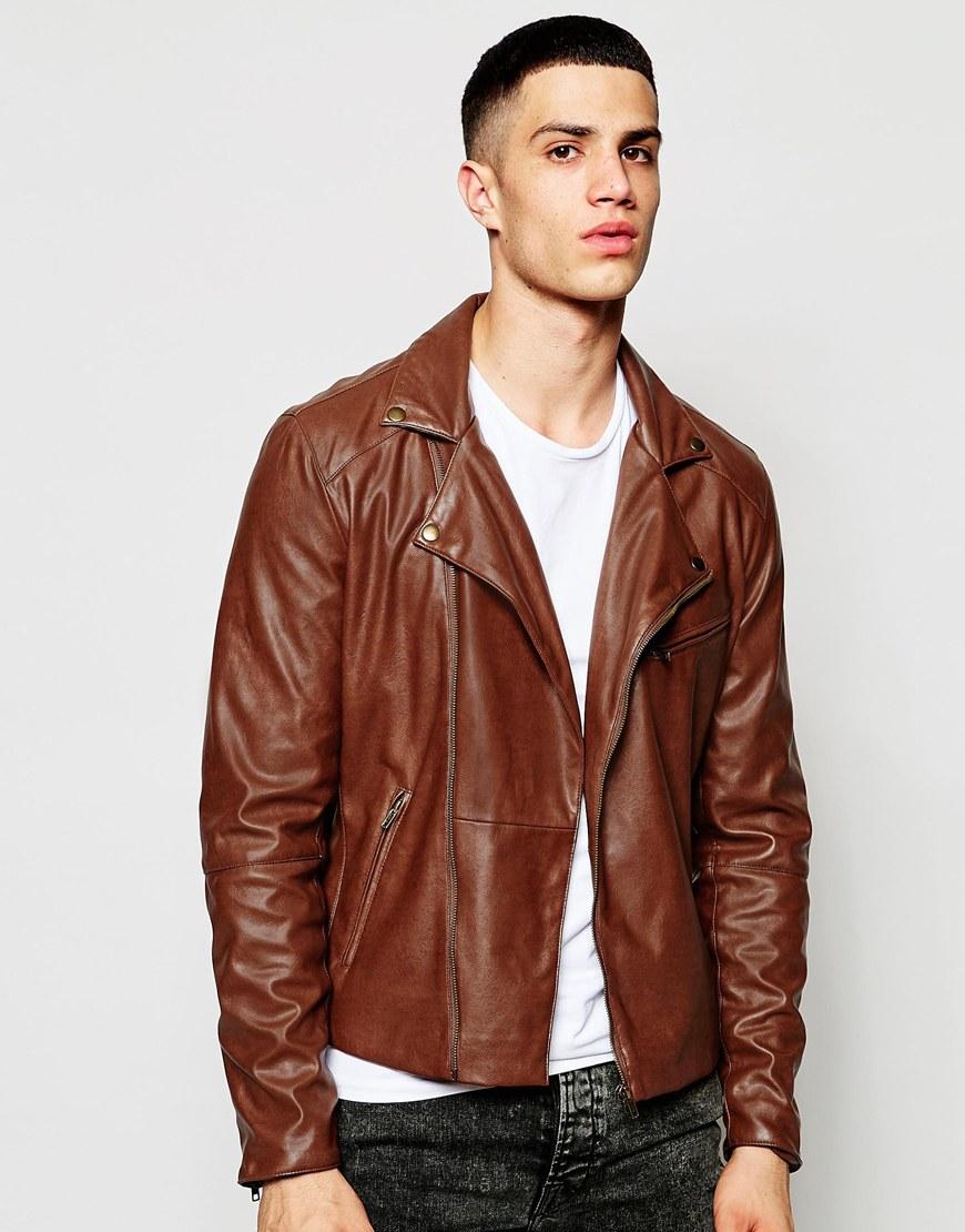 Asos Faux Leather Biker Jacket In Brown in Brown for Men | Lyst