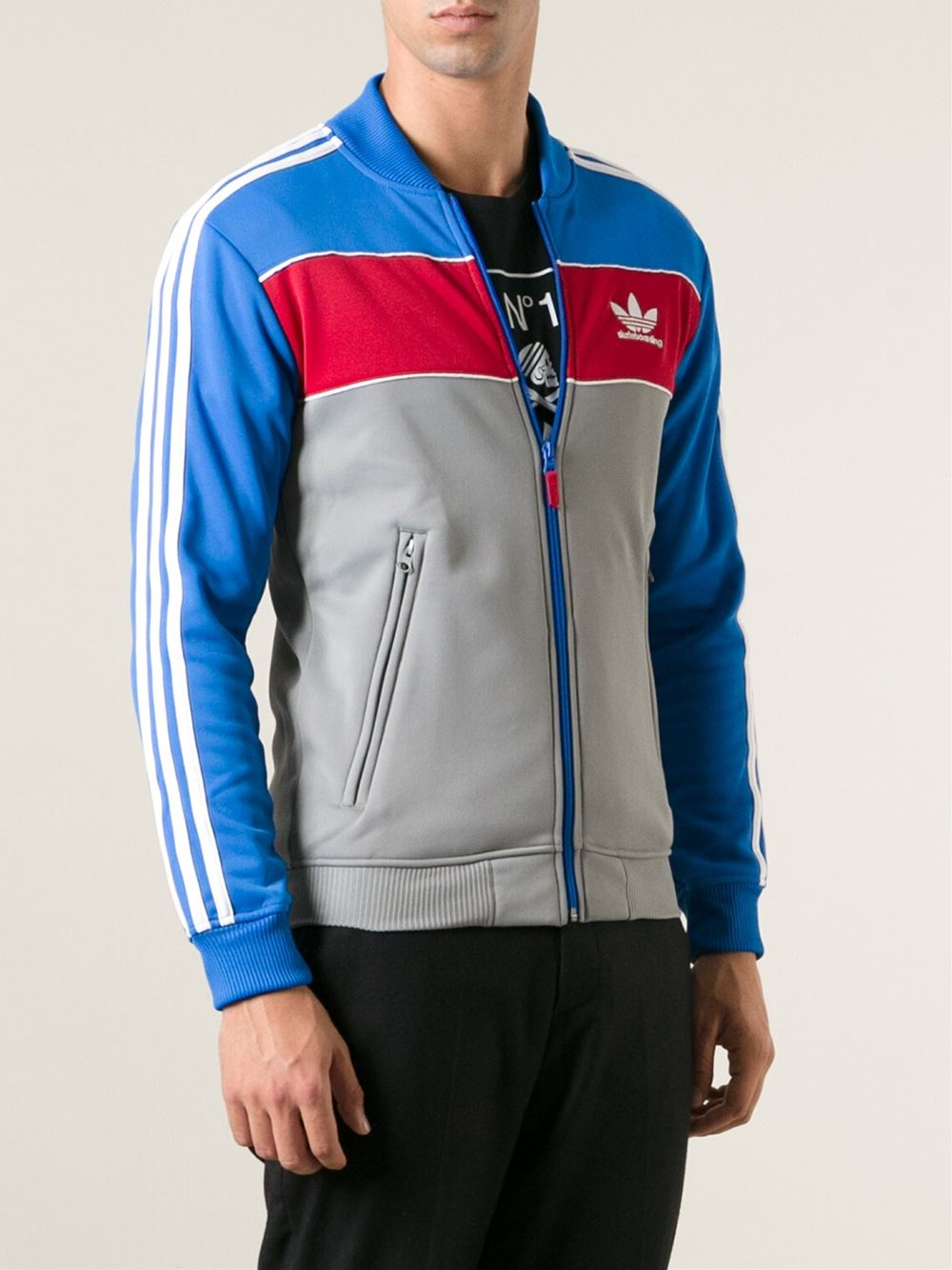Lyst Adidas Striped Zipped Track Jacket In Blue For Men