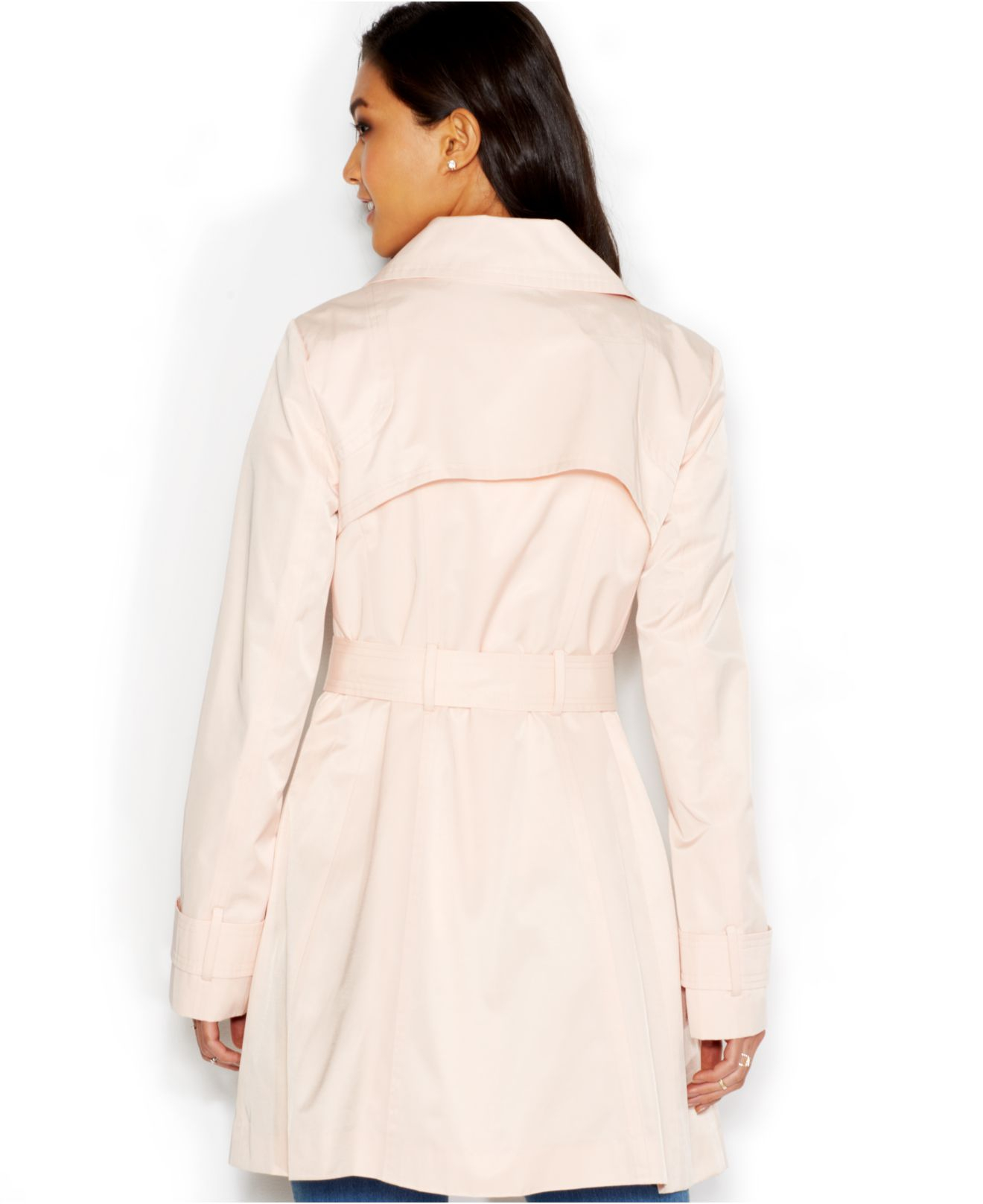 Jessica simpson Ruffled Belted Trench Coat in Pink | Lyst