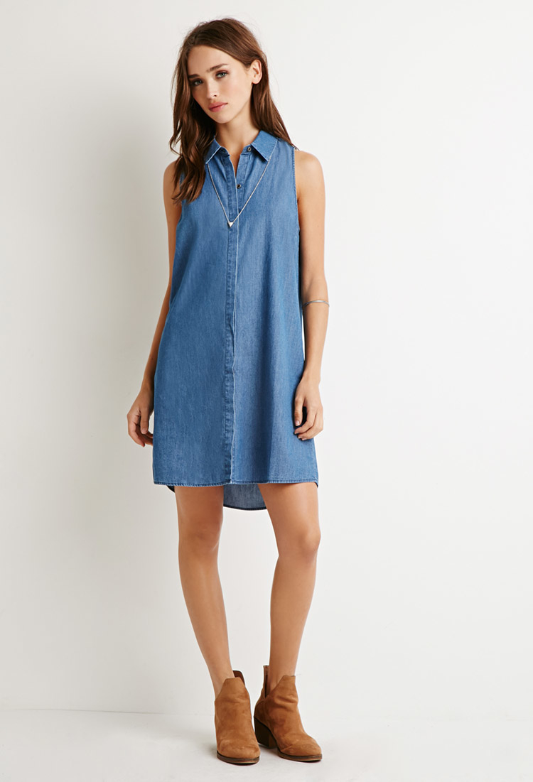Lyst forever 21 chambray shirt dress in blue for Chambray dress