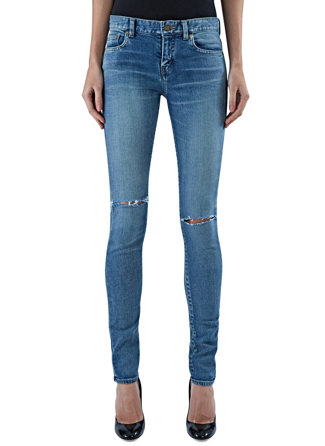 saint laurent women 39 s skinny ripped knee jeans in blue in. Black Bedroom Furniture Sets. Home Design Ideas