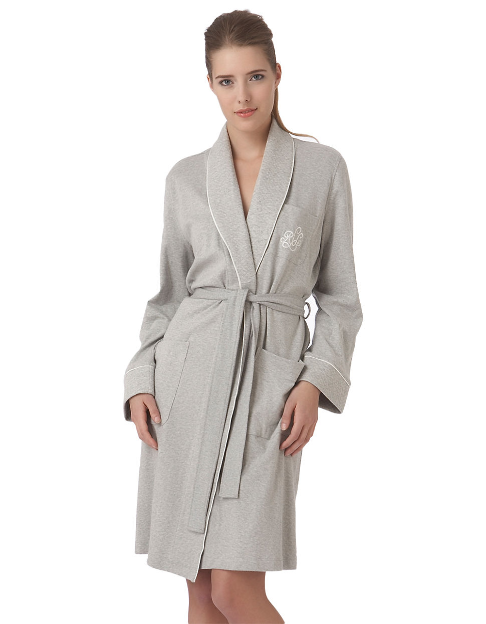 lauren by ralph lauren plus the hartford robe with quilted collar and cuffs in gray lyst. Black Bedroom Furniture Sets. Home Design Ideas