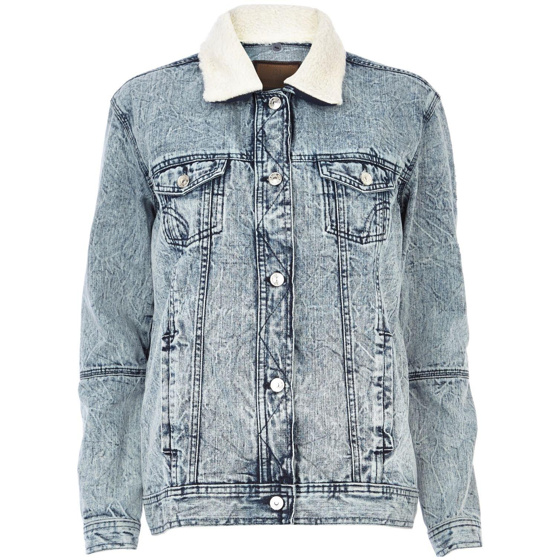 River Island Light Acid Wash Fleece Collar Denim Jacket in ...
