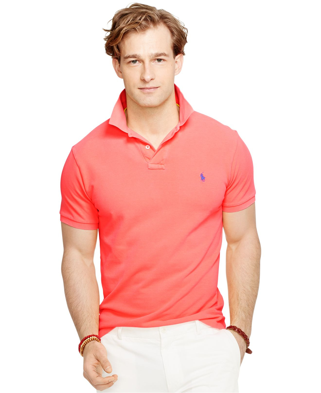 Polo Ralph Lauren | Pink Custom-Fit Neon Mesh Polo Shirt for Men | Lyst