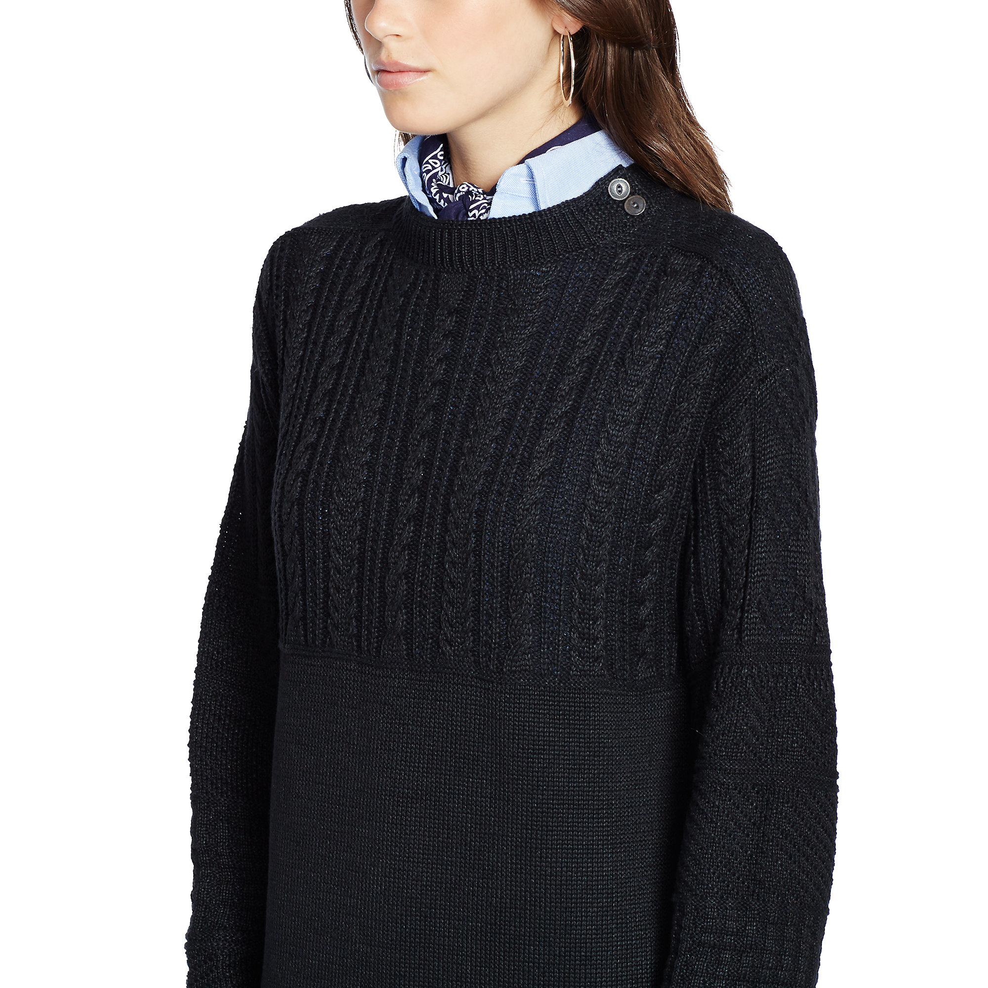 164b6155d Polo Ralph Lauren Cable-knit Sweater Dress In Black