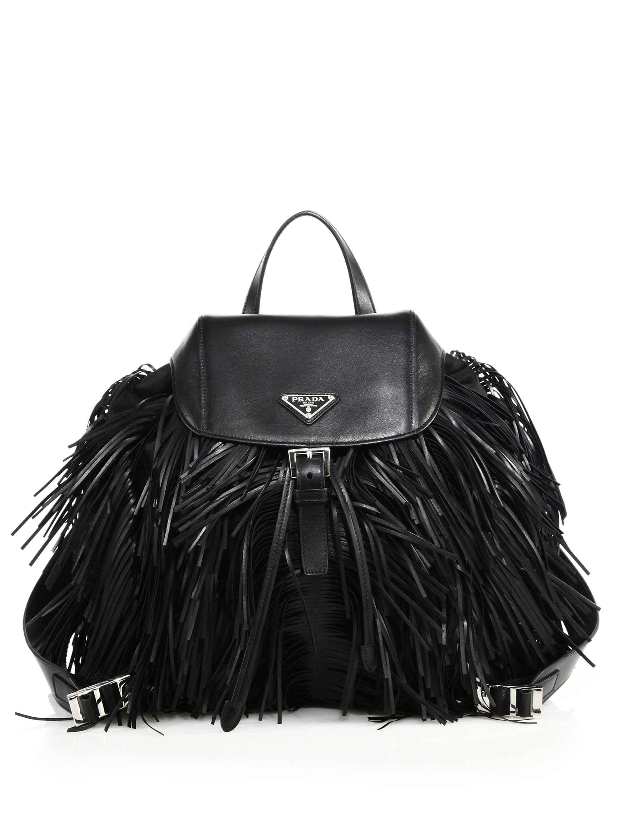 10893898f821 Lyst - Prada Fringed Nylon   Leather Backpack in Black