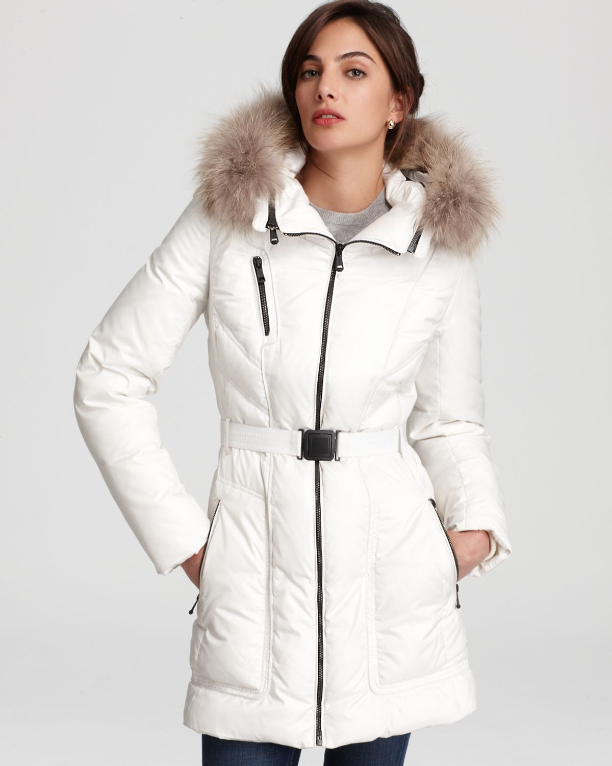 Andrew marc Down Jacket with Detachable Hood in White   Lyst