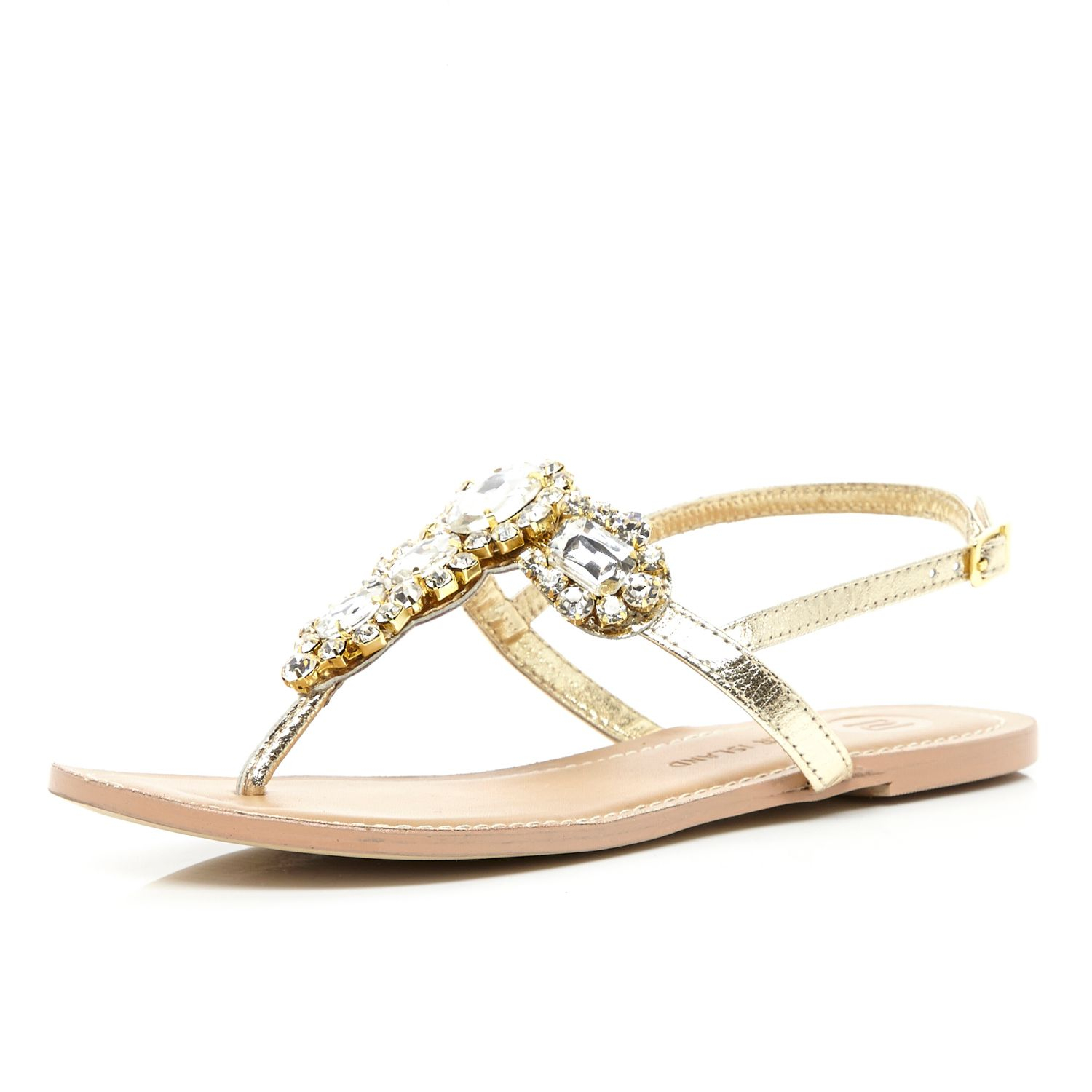 c4856429ff1 River Island Gold Jewel Embellished T Bar Sandals in Metallic - Lyst
