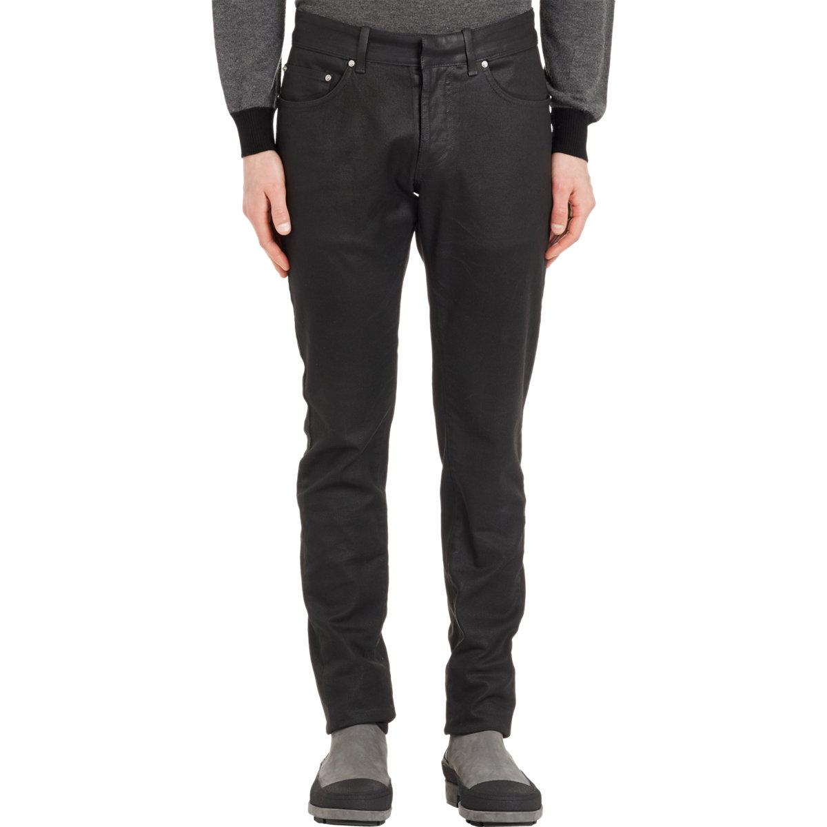 Black wax coated jeans