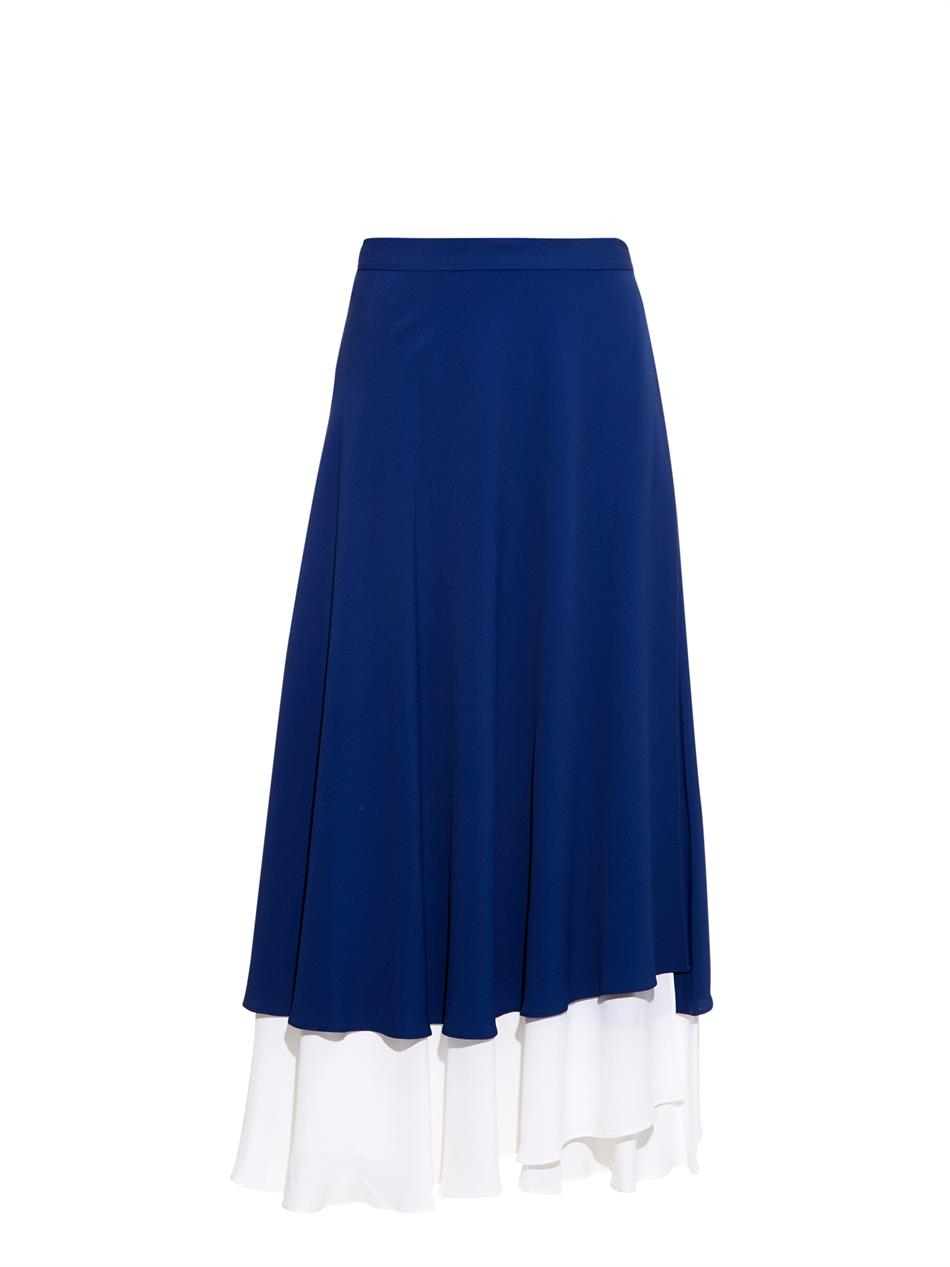 osman bi colour midi skirt in blue lyst