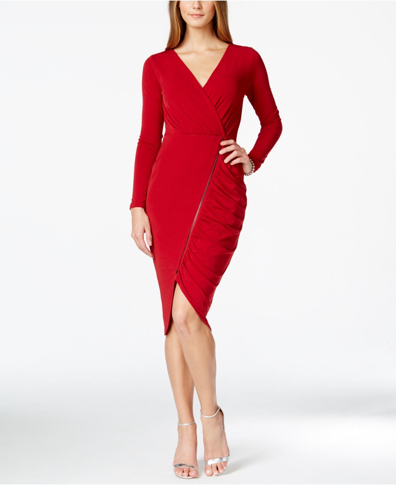 7b3c8f19a10ff Lyst - RACHEL Rachel Roy Faux-wrap Zip-front Dress in Red