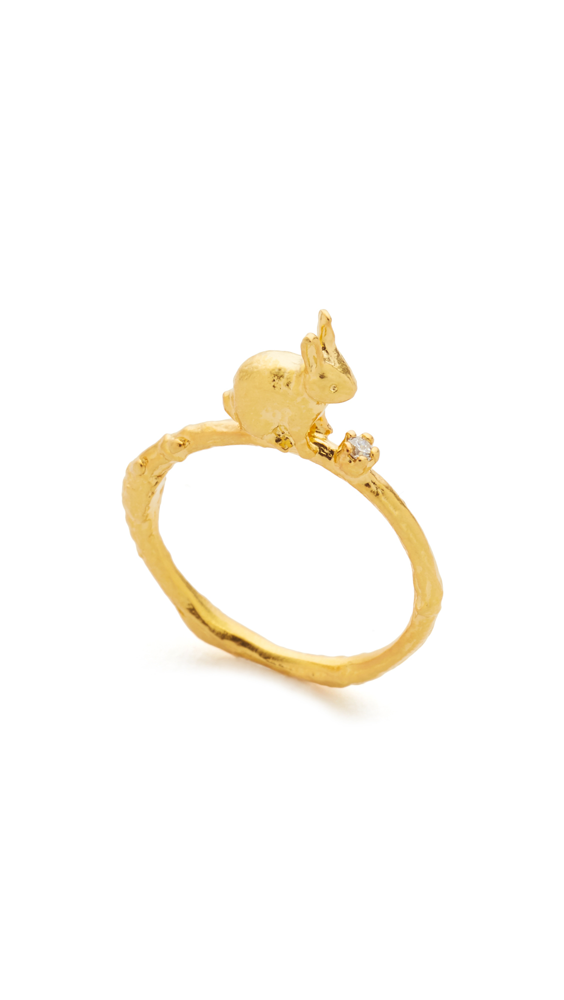 Lyst Alex Monroe Sitting Bunny Ring With Set Diamond in Metallic