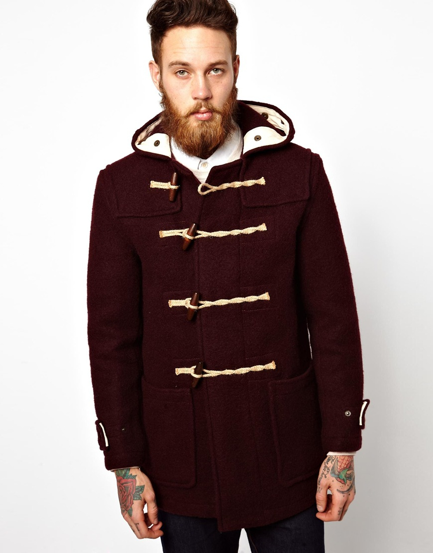Gloverall Duffle Coat in Red for Men | Lyst