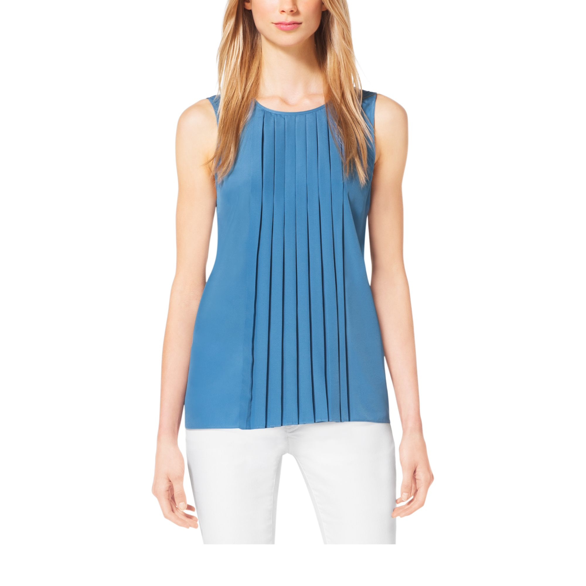 97c82404f5a68 Lyst - Michael Kors Pleated Crepe Blouse in Blue